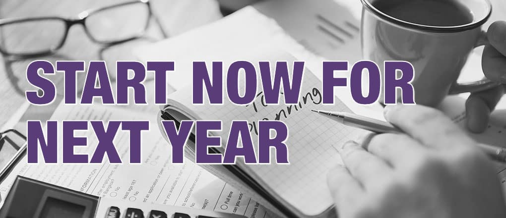 Tax planning: start now for next year